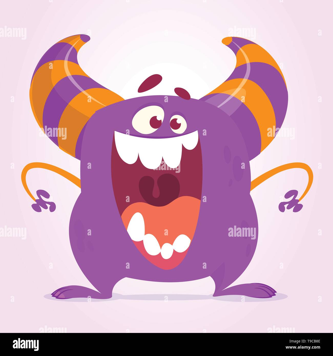 Cute cartoon monster. Vector fat monster mascot character. Halloween design for party decoration, print or children book - Stock Image