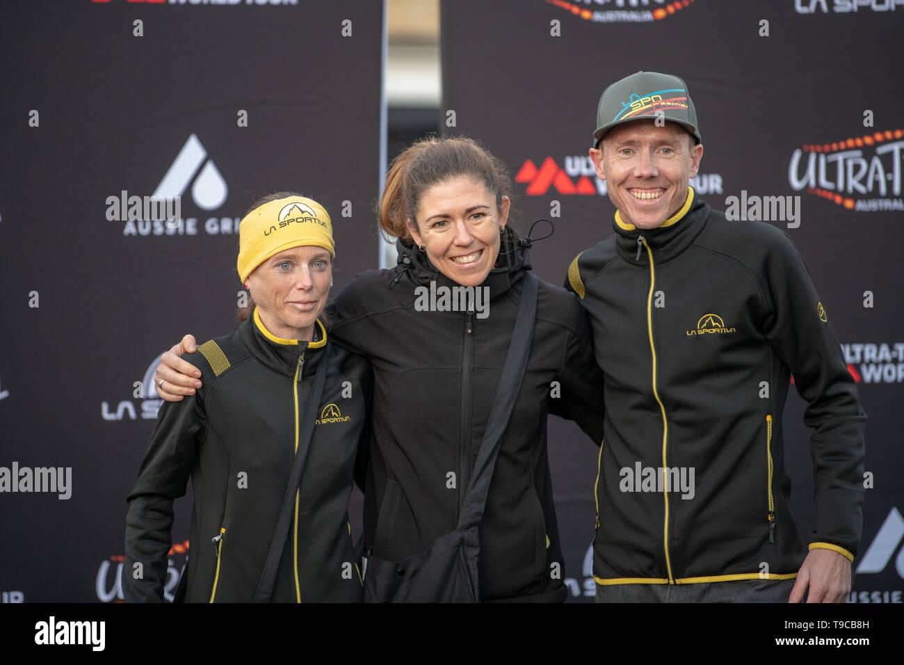 Blue Mountains, Australia - April 16 2019: Ultra-Trail Australia UTA11 race. Winner and runner of under 30's women event up on the podium - Stock Image