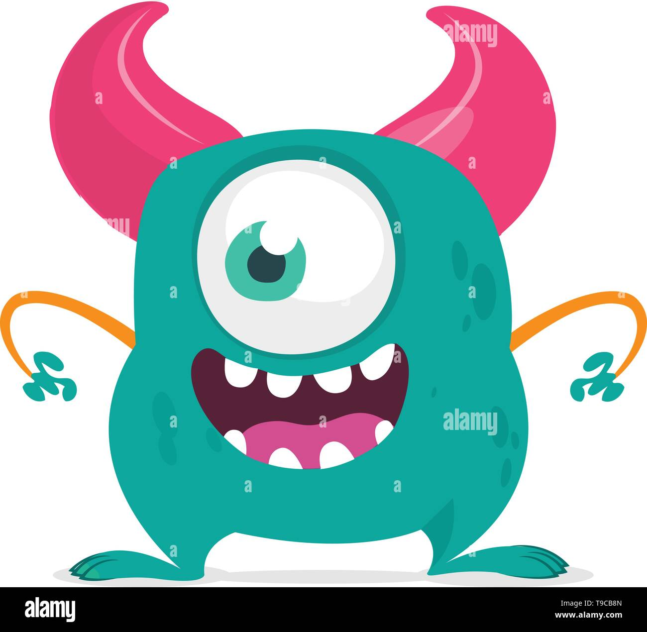 Funny cartoon monster with one eye. Vector blue monster illustration. Halloween design - Stock Image