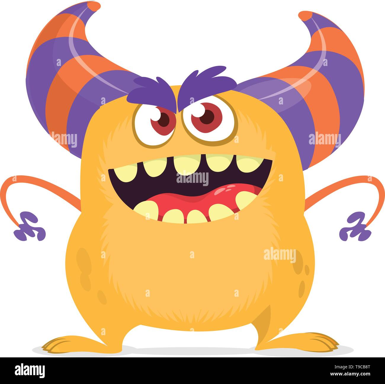 Scared cartoon monster with big mouth. Vector orange monster illustration. Halloween design - Stock Image