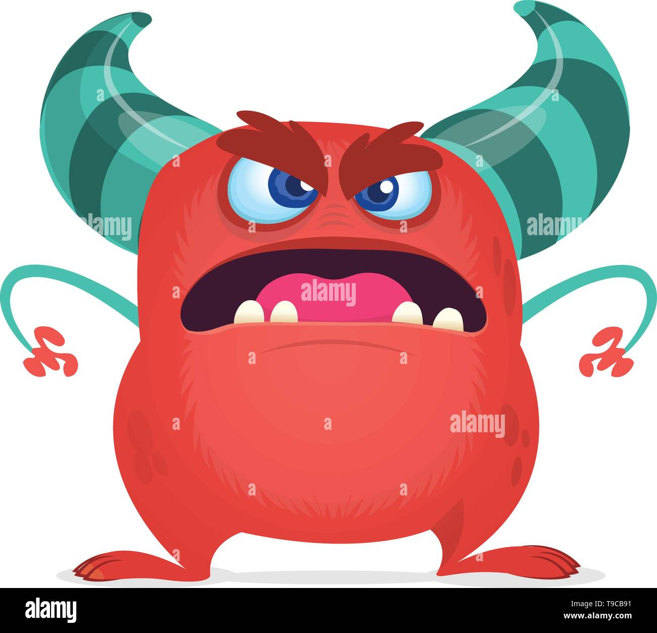 Angry cartoon red monster screaming. Yelling angry monster expression. Halloween character. Vector illustrations. - Stock Image
