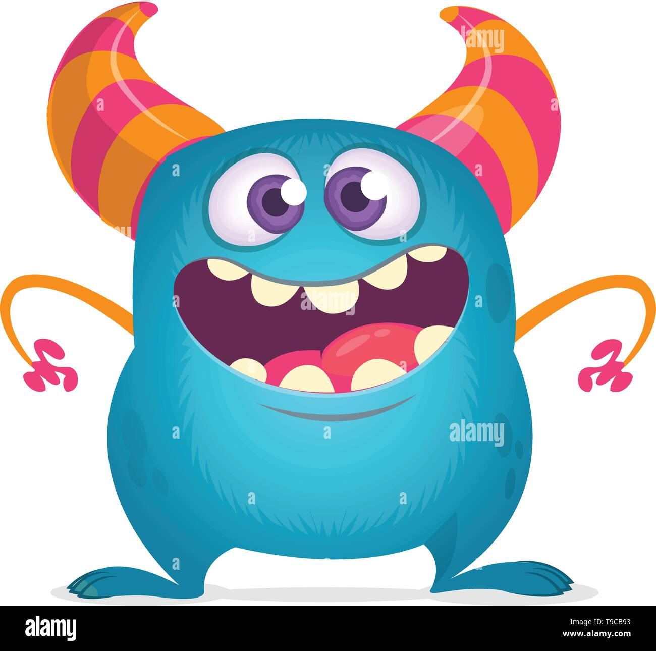 Funny cartoon monster with big mouth. Vector blue monster illustration. Halloween design - Stock Image