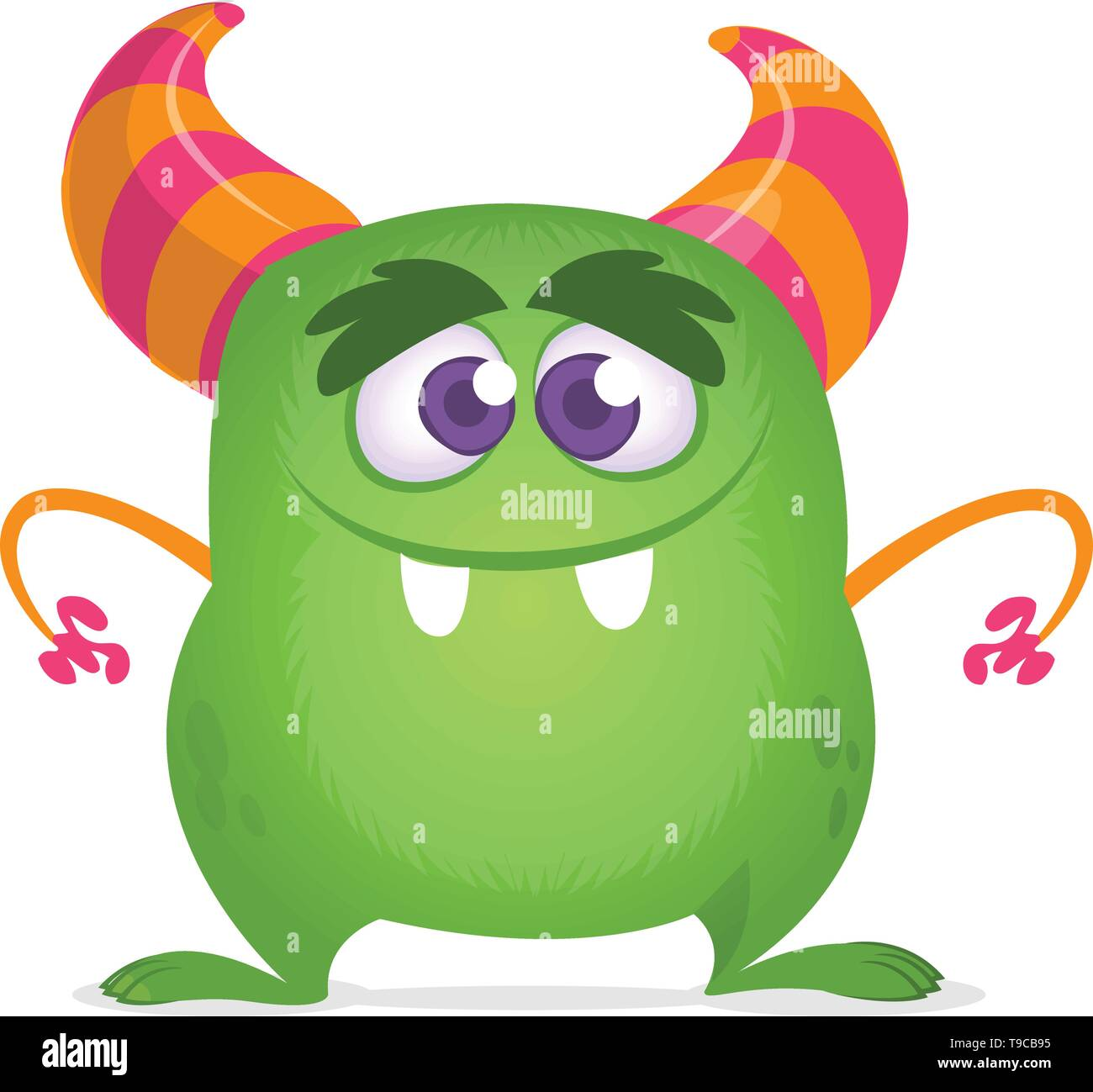 Cartoon green horned monster. Vector illustration isolated - Stock Image