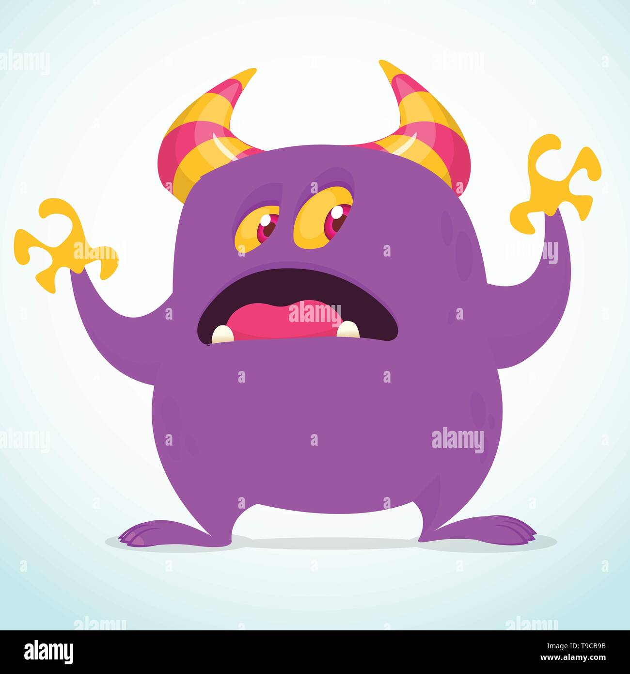 Scared cartoon monster. Vector illustration clipart - Stock Image