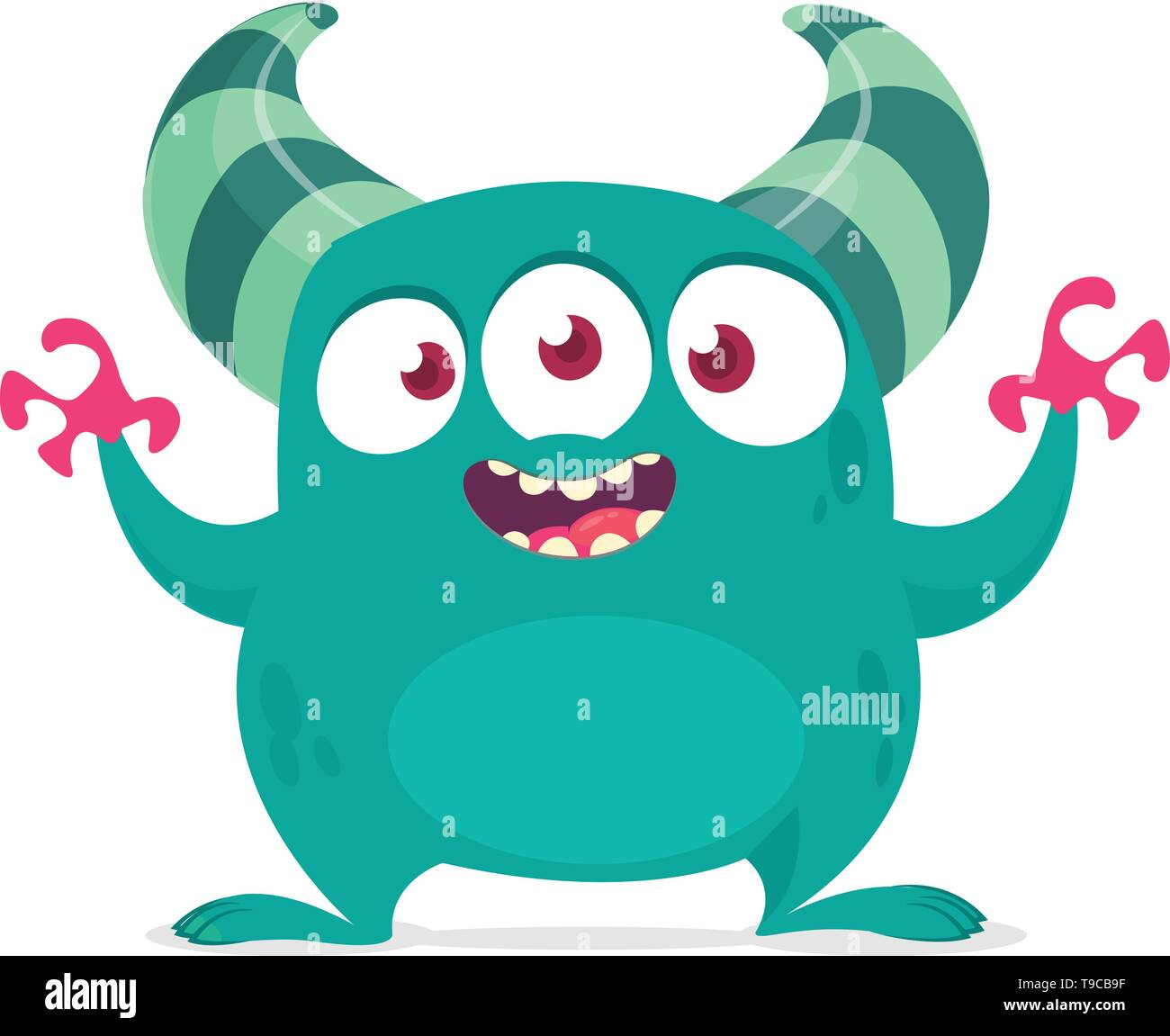 Funny Cartoon Alien With Three Eyes Vector Illustration Clipart Stock Vector Image Art Alamy