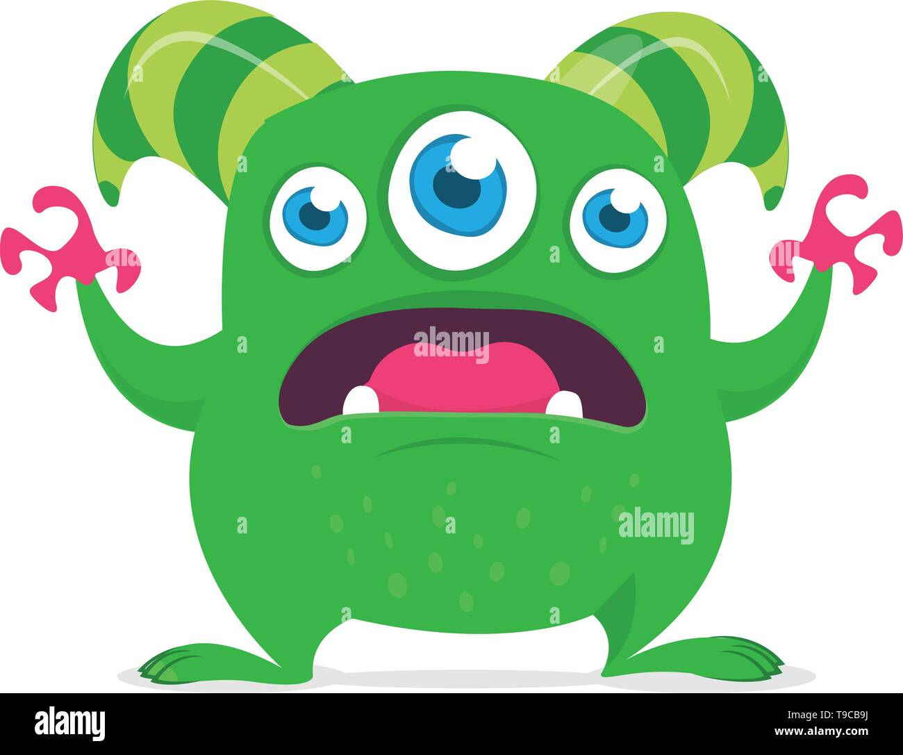 Cute cartoon alien monster with three eyes. Vector illustration isolated on white - Stock Image