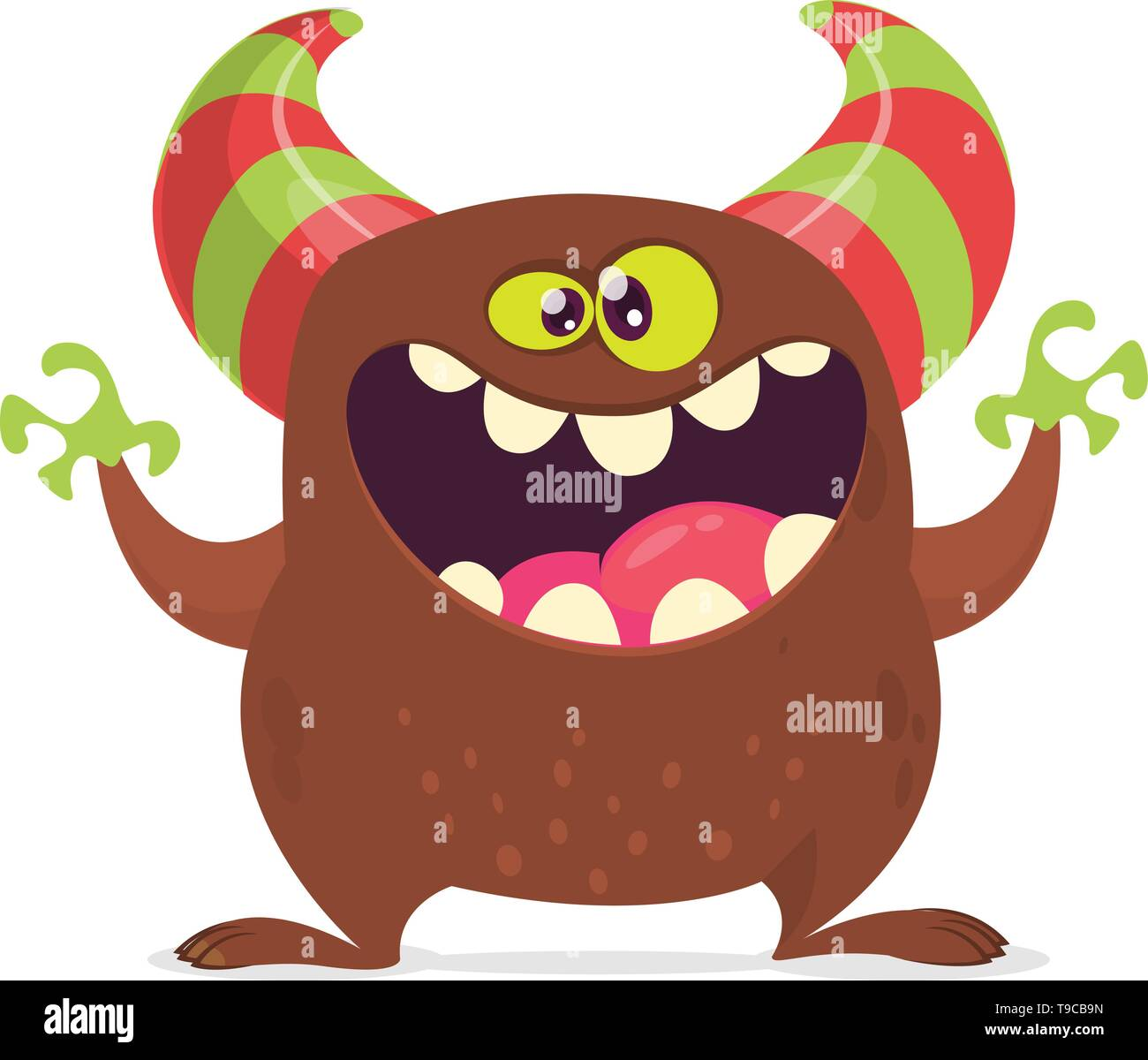 Cool cartoon monster with horns laughing. Vector brown monster character. Characters for Halloween party decoration - Stock Image