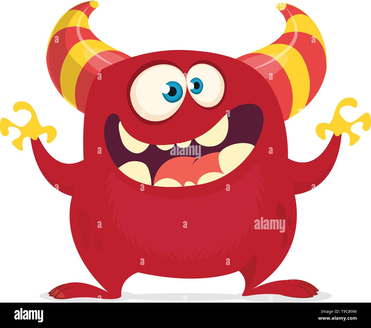 Cool cartoon monster with horns and big mouth. Vector red monster illustration. Halloween character design - Stock Image