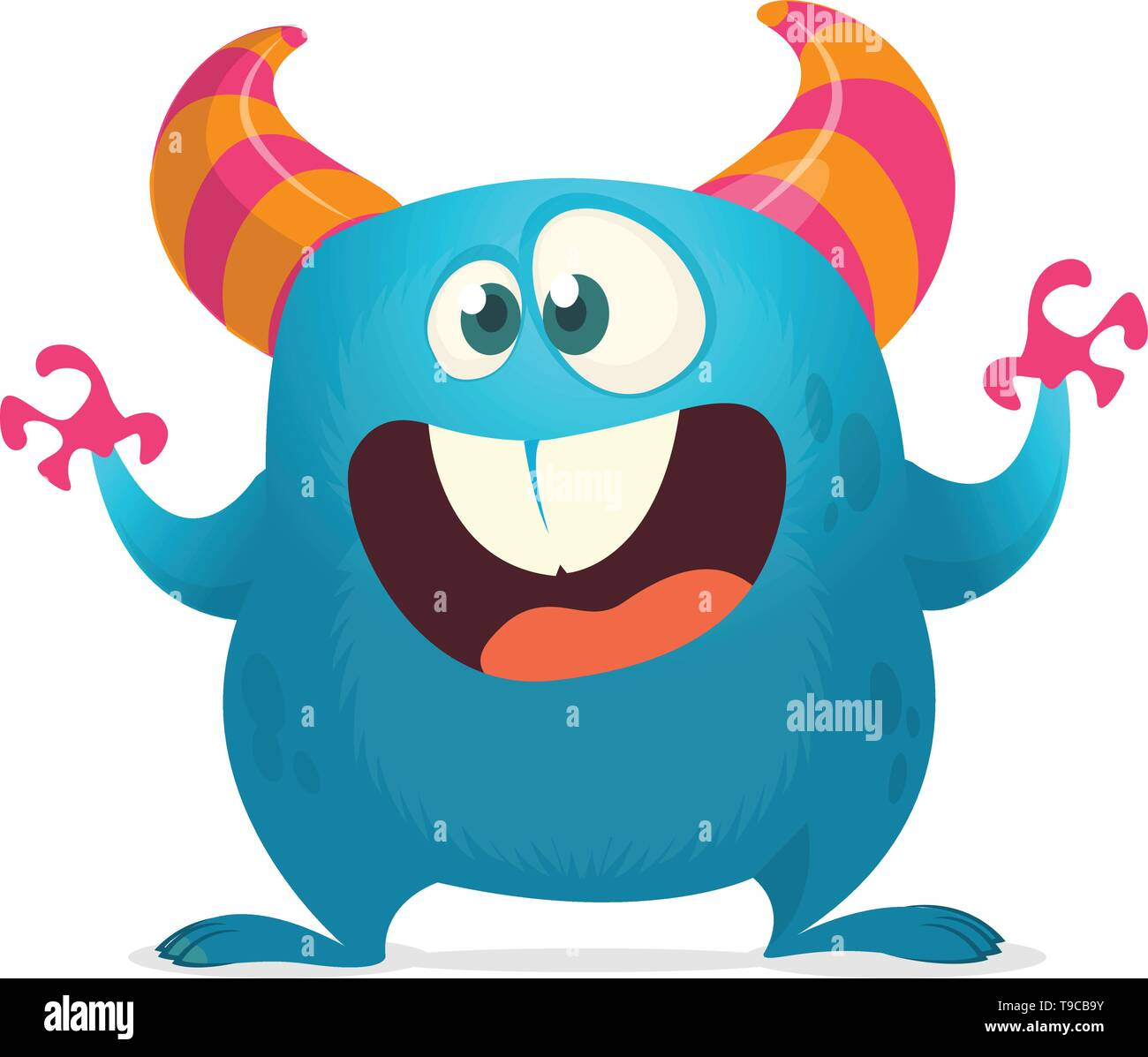 Funny cartoon monster with big teeth. Vector blue monster illustration with hands up. Halloween design - Stock Image
