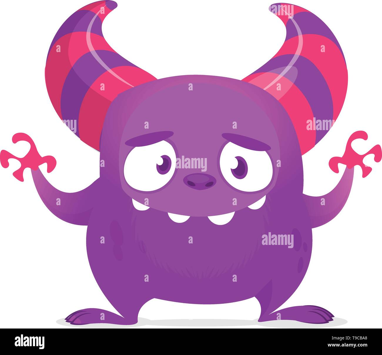 Funny cartoon monster with big smile waving hands. Vector purple monster illustration. Halloween design - Stock Image
