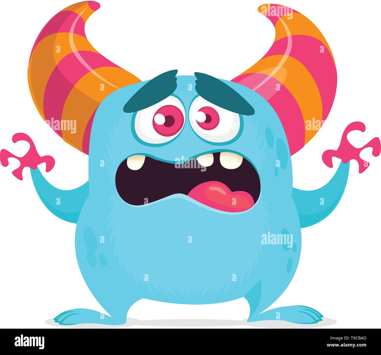 Cute cartoon monster. Vector illustration of yeti or bigfoot. Scared emotion monster face - Stock Image