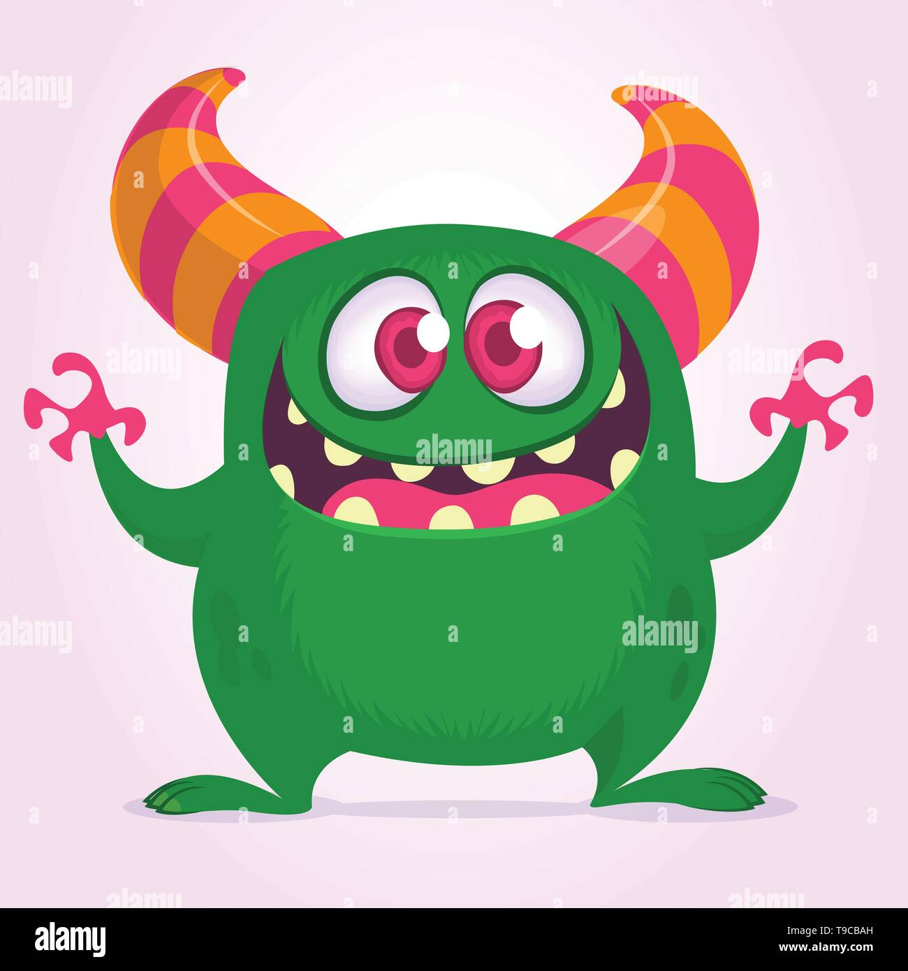 Funny cartoon monster waving hands excited. Vector green monster illustration. Halloween design - Stock Image