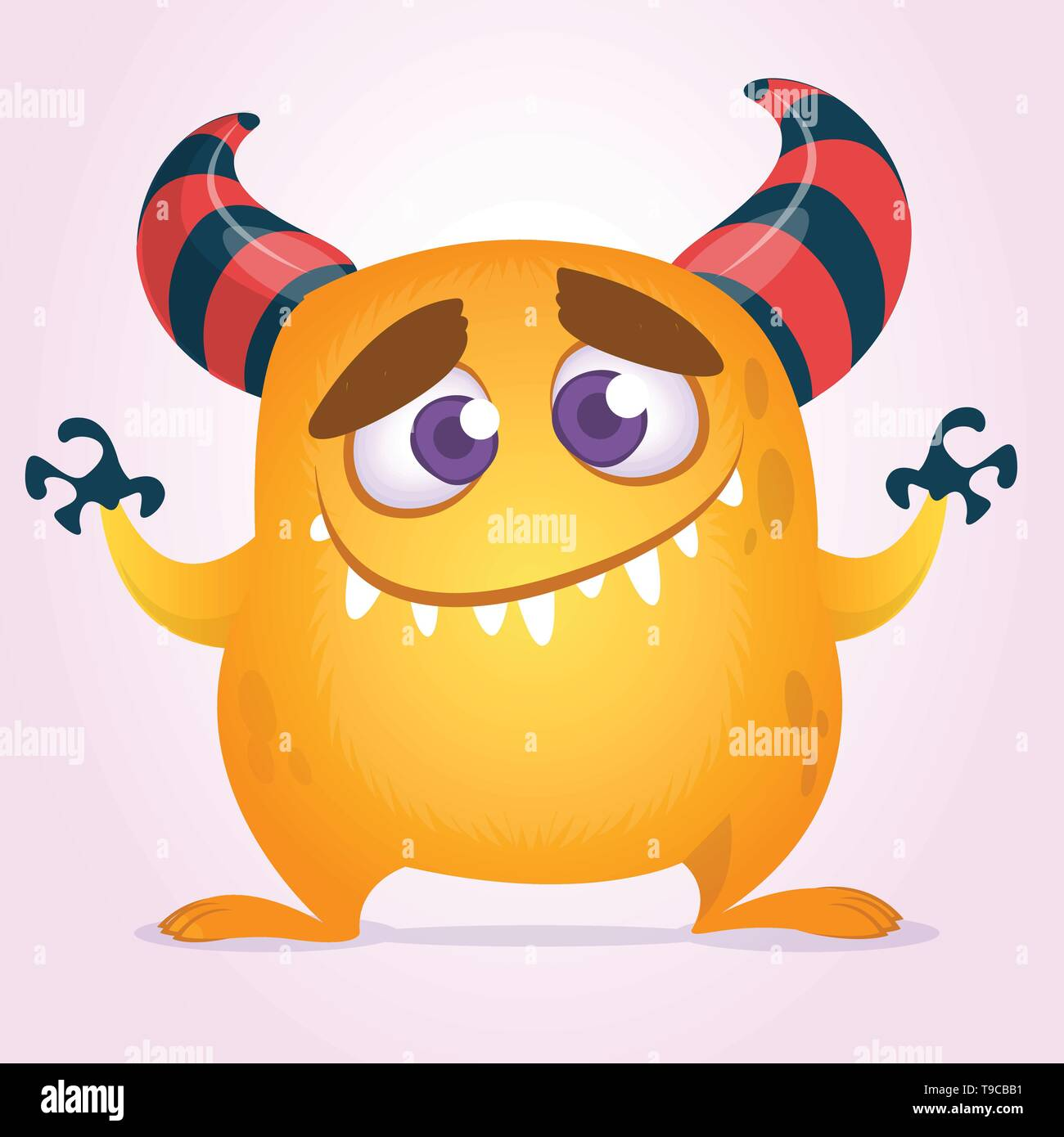 Happy cute cartoon monster with big mouth. Vector orange monster illustration. Halloween character design isolated - Stock Image