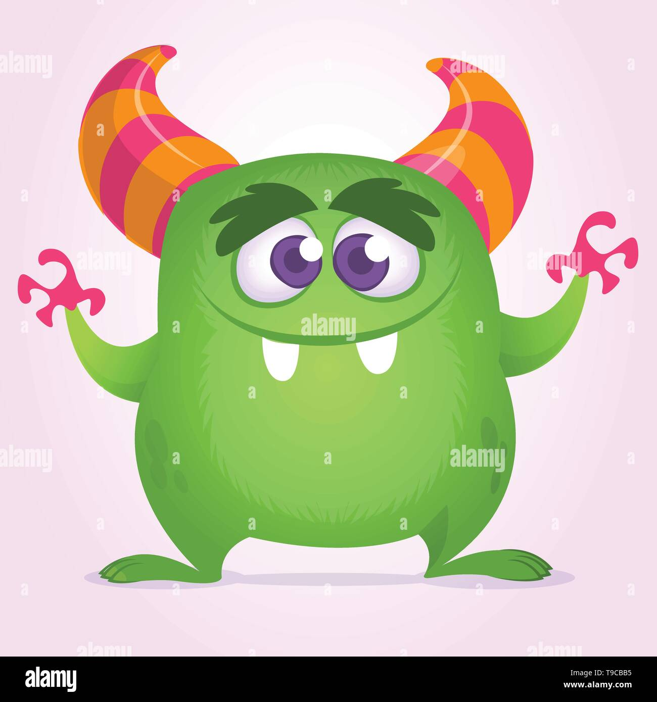 Happy cartoon monster with big mouth full of teeth. Vector green monster illustration. Halloween character design - Stock Image