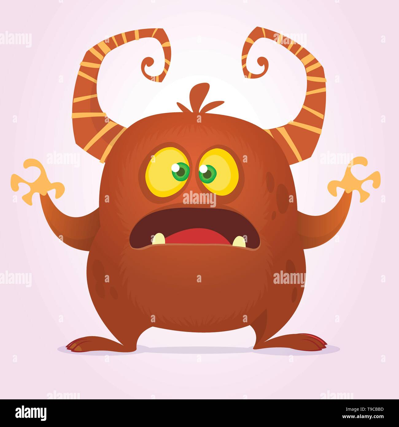 Agry scared cartoon monster with horns. Vector brown monster illustration. Halloween design isolated - Stock Image