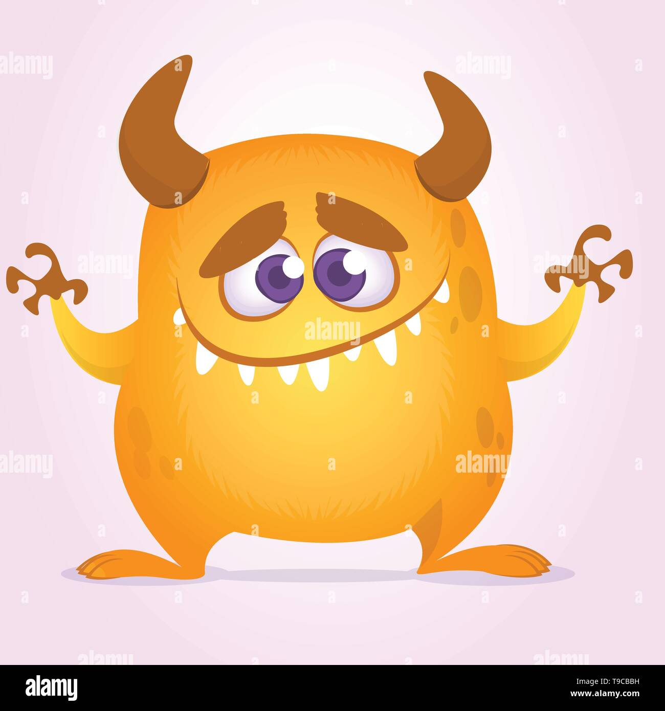 Happy cute cartoon monster with horns. Vector orange monster illustration. Halloween character. Design for decoration, print or sticker - Stock Image