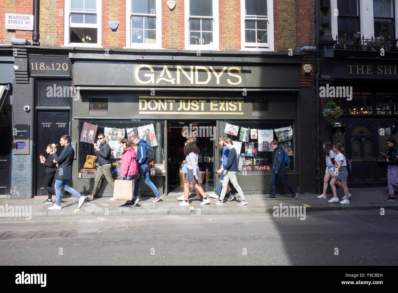 Gandy's shop front, Wardour Street, London, UK - Stock Image