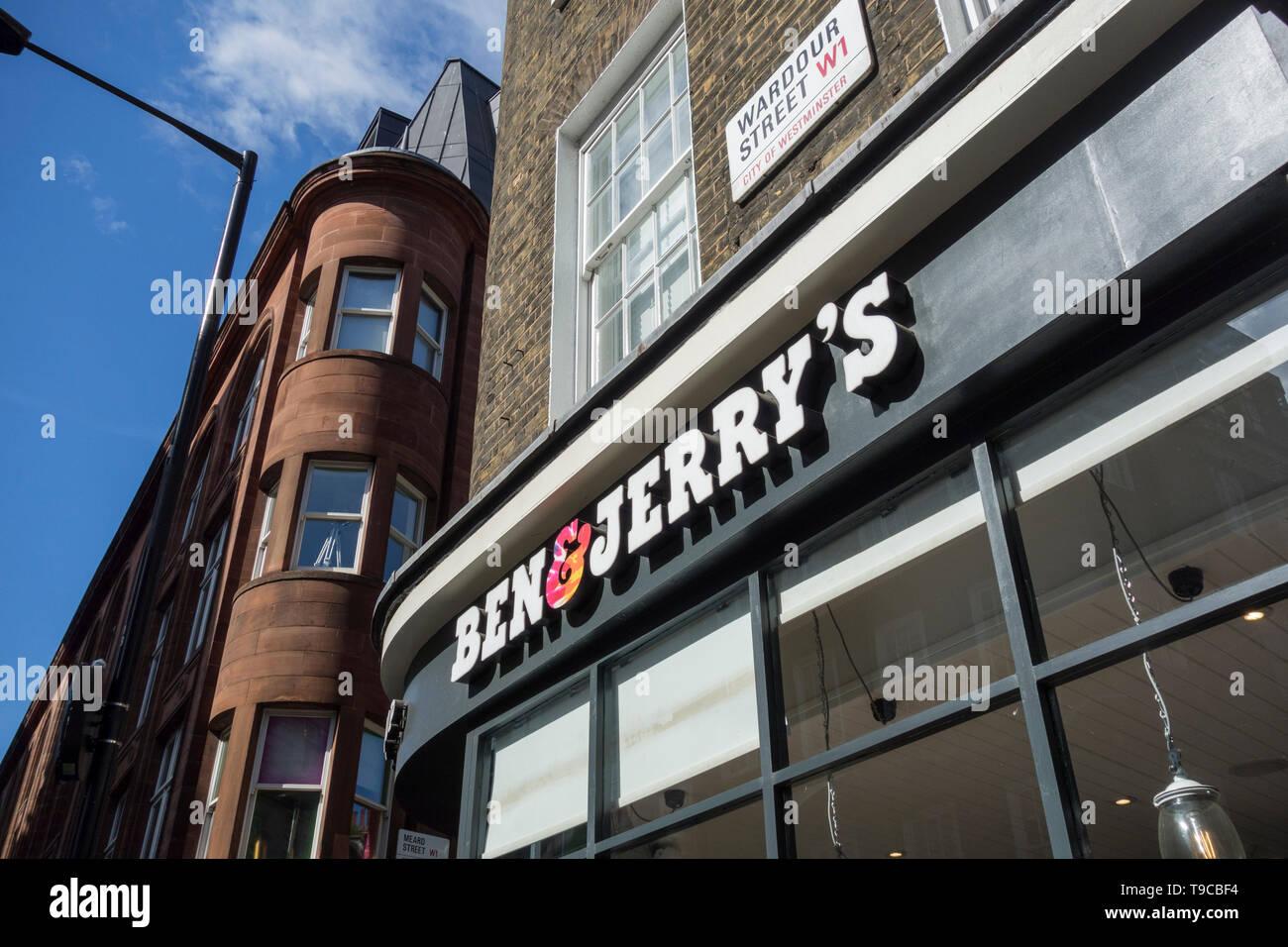 Ben & Jerry's Ice Cream Parlour signage on Wardour Street, Soho, London, UK - Stock Image