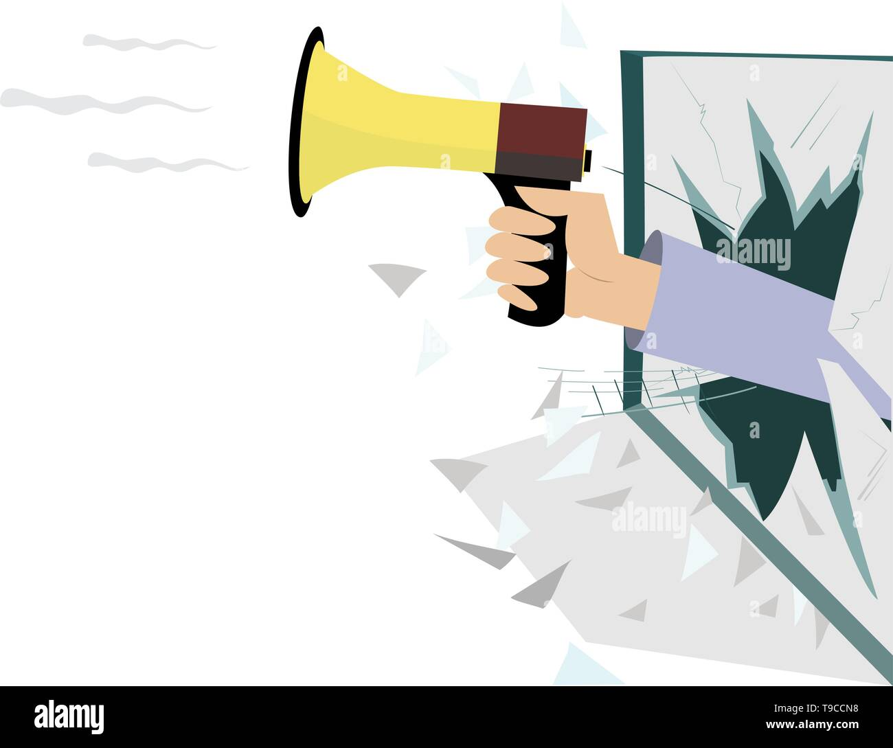 Hand with megaphone breaks the window isolated illustration. Hand with megaphone appears from the broken window isolated on white - Stock Vector