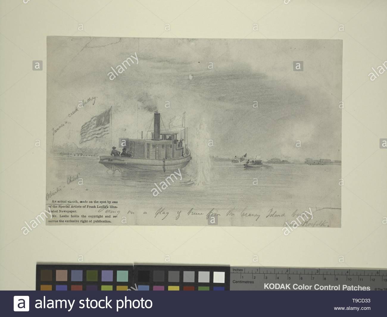 Schell,FrancisH (1834-1909)-Firing of a flag of truce from the Craney Island battery near Norfolk (Adriatic of Phila ) - Stock Image