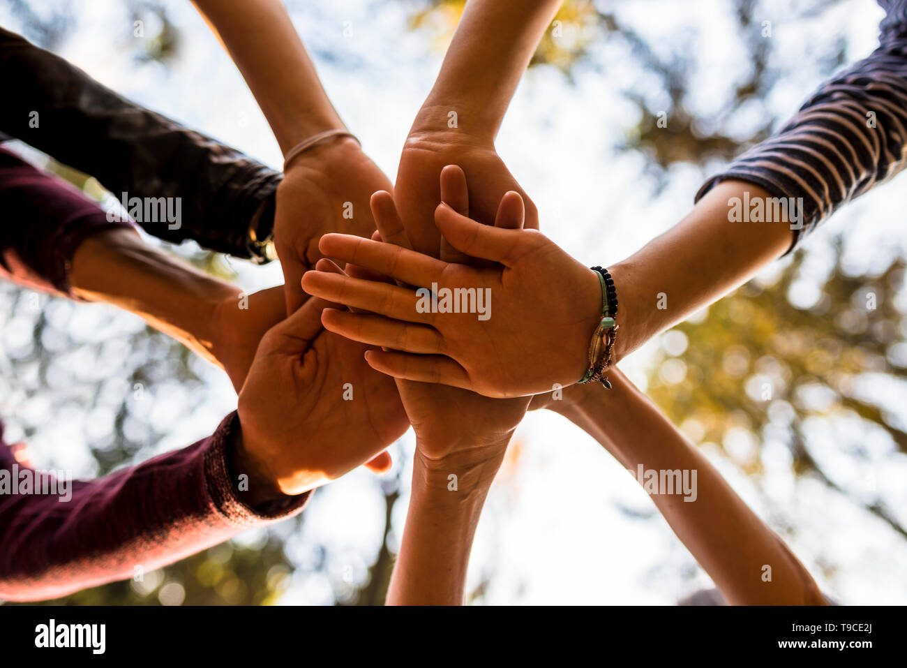 Shot from below of four people stacking hands outside in nature. Concept of unity, togetherness and friendship. - Stock Image