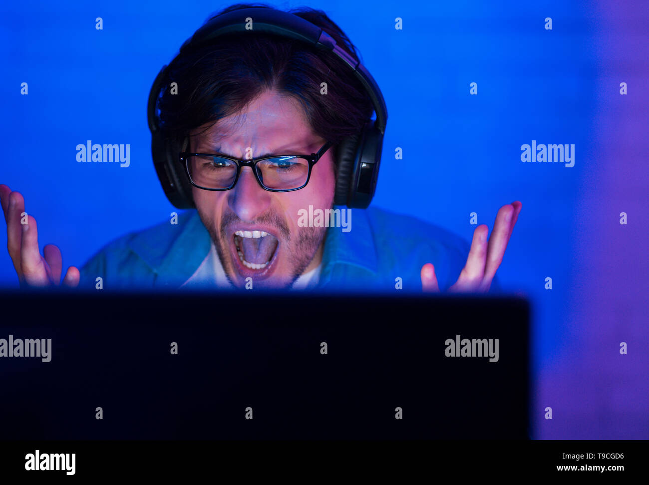 Lost Game. Angry Gamer Or Streamer Playing Online - Stock Image