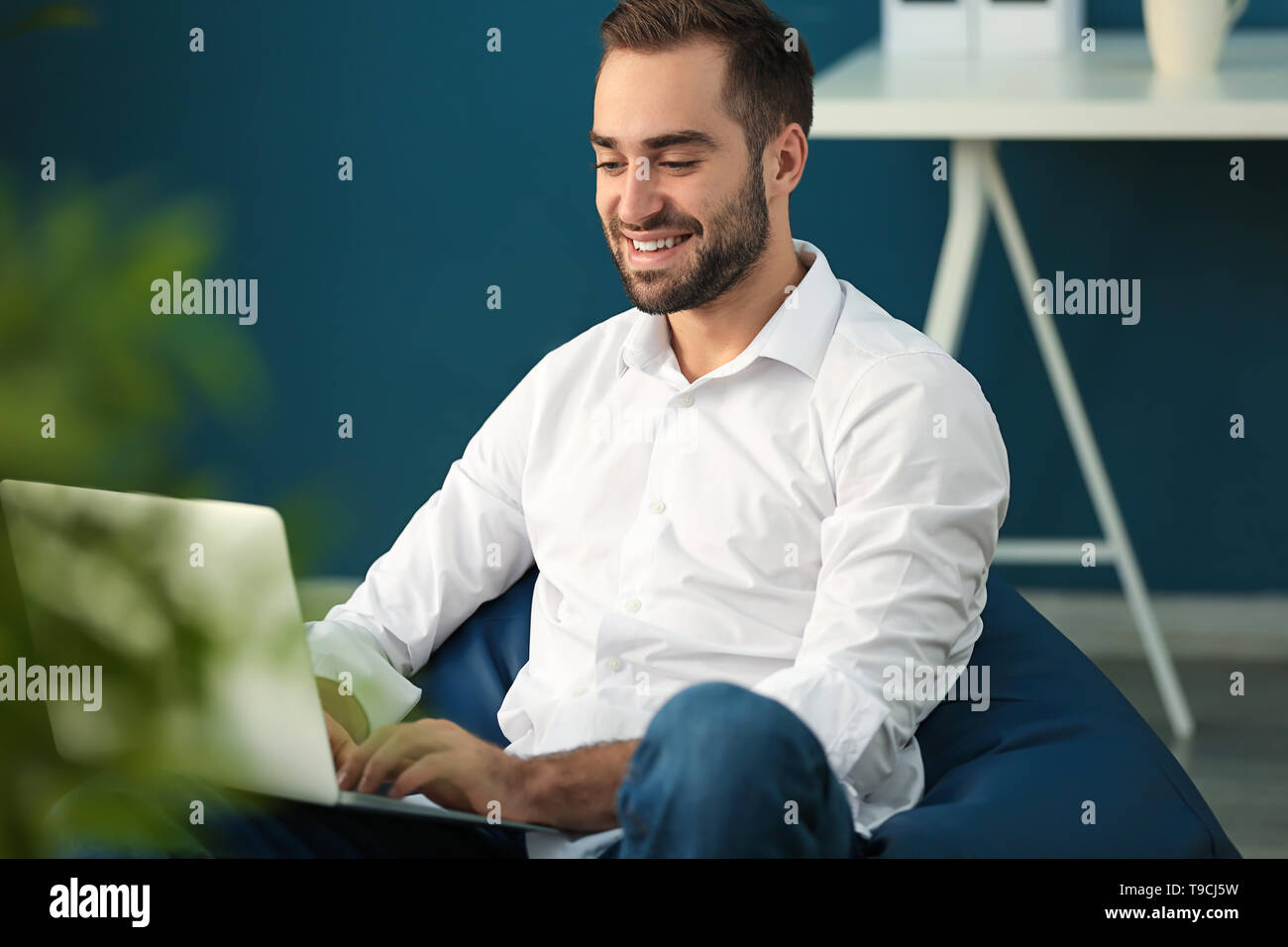 Young businessman with laptop sitting on beanbag chair in office - Stock Image