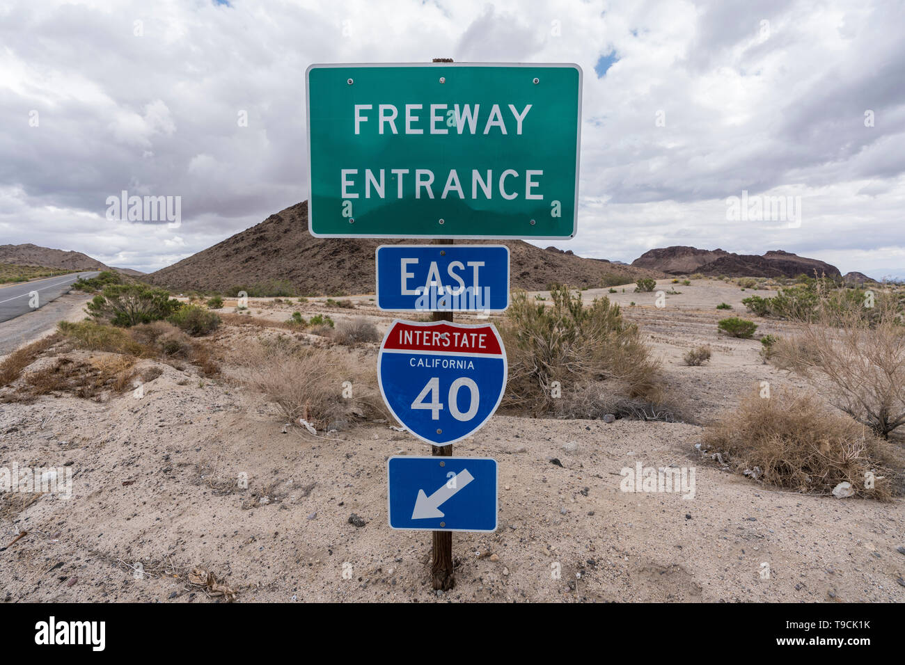 Interstate 40 east freeway on ramp sign near Mojave National Preserve in the desert region of Southern California. Stock Photo