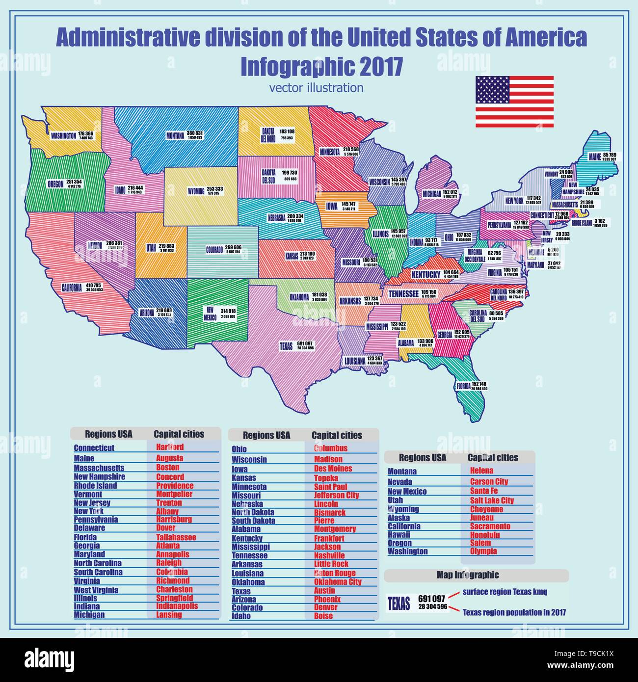 Abstract map of USA with regions and informations. Bright ...