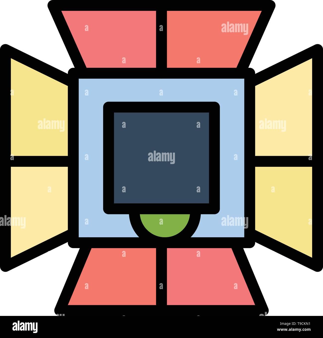 Illumination, Light, Lighting, Professional, Soft box  Flat Color Icon. Vector icon banner Template - Stock Image