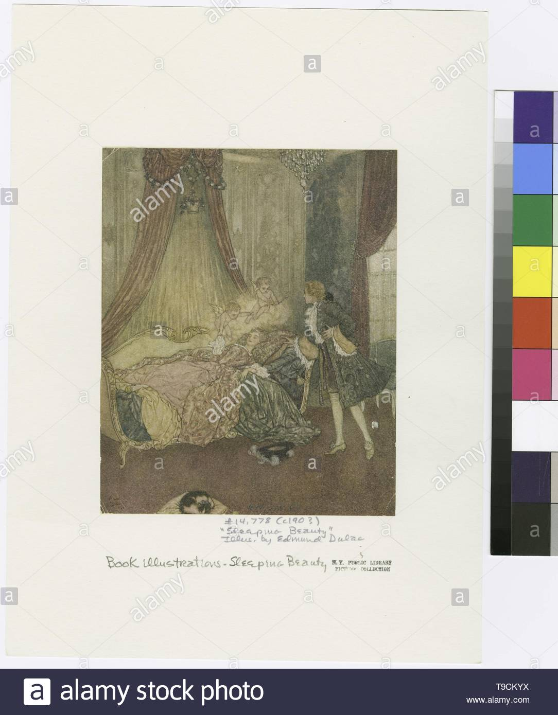 Dulac,Edmund(1882-1953)-And there, on a bed the curtains of which were drawn wide, he beheld the loveliest vision he had ever seen - Stock Image