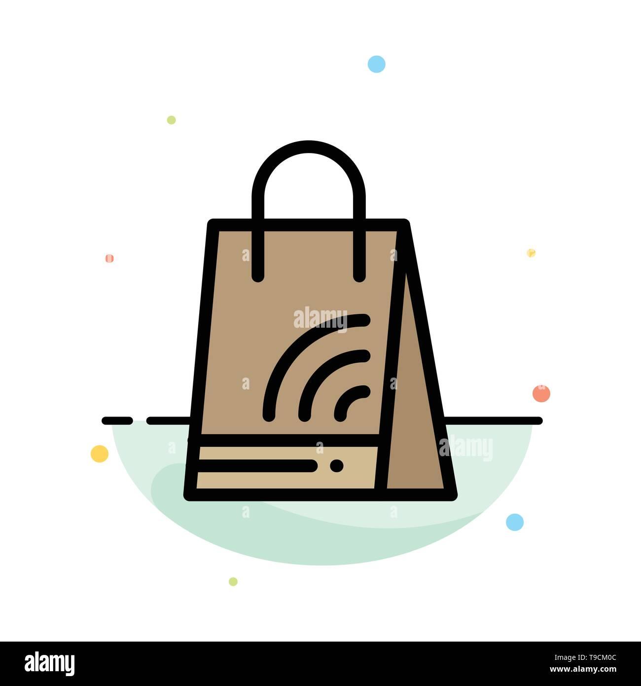 Bag, Handbag, Wifi, Shopping Abstract Flat Color Icon Template - Stock Image
