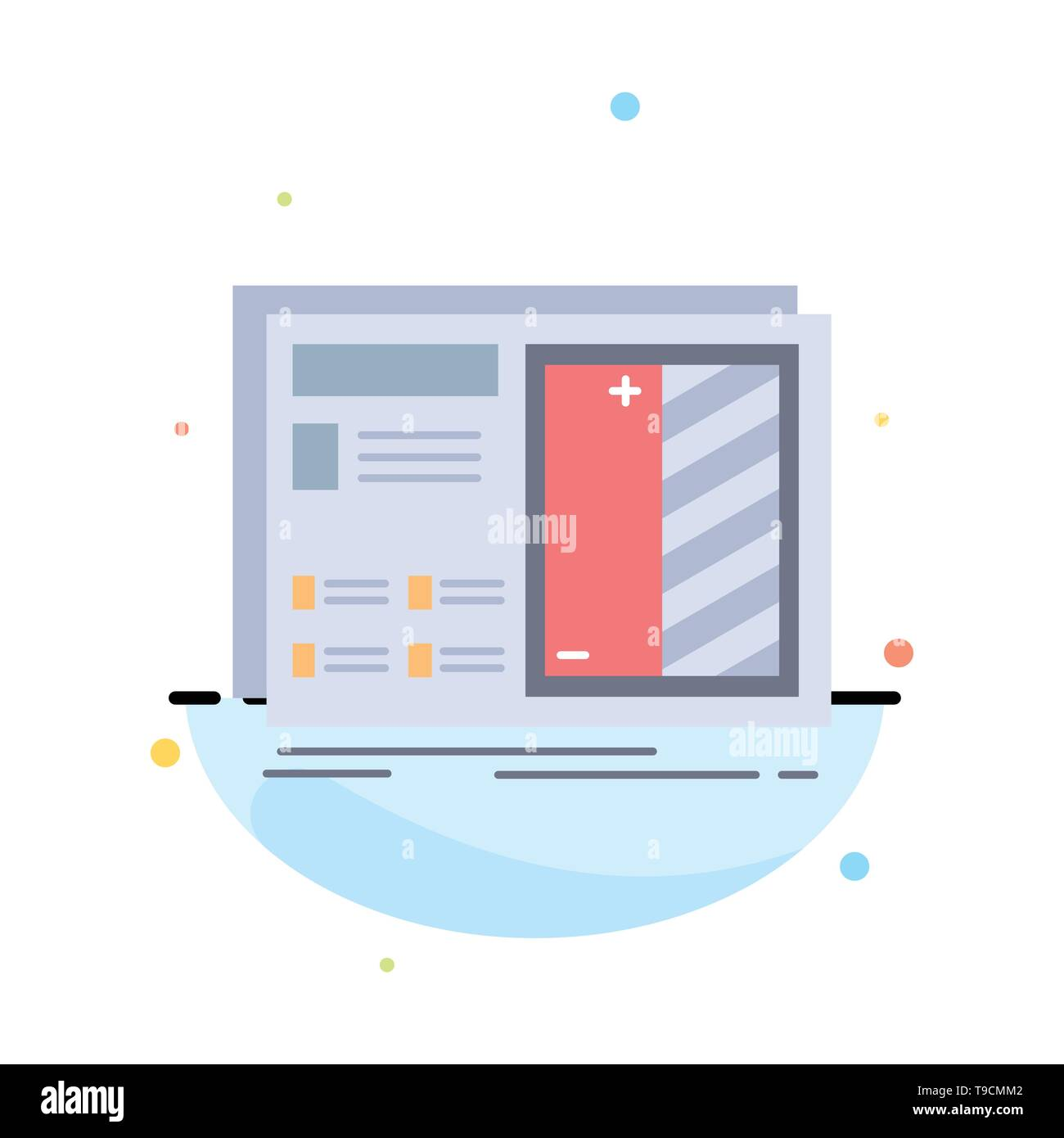 Blueprint, design, drawing, plan, prototype Flat Color Icon Vector Stock Vector