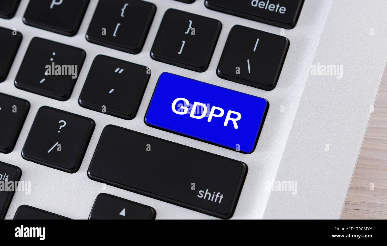 Text GDPR on blue keyboard button, closeup - Stock Image
