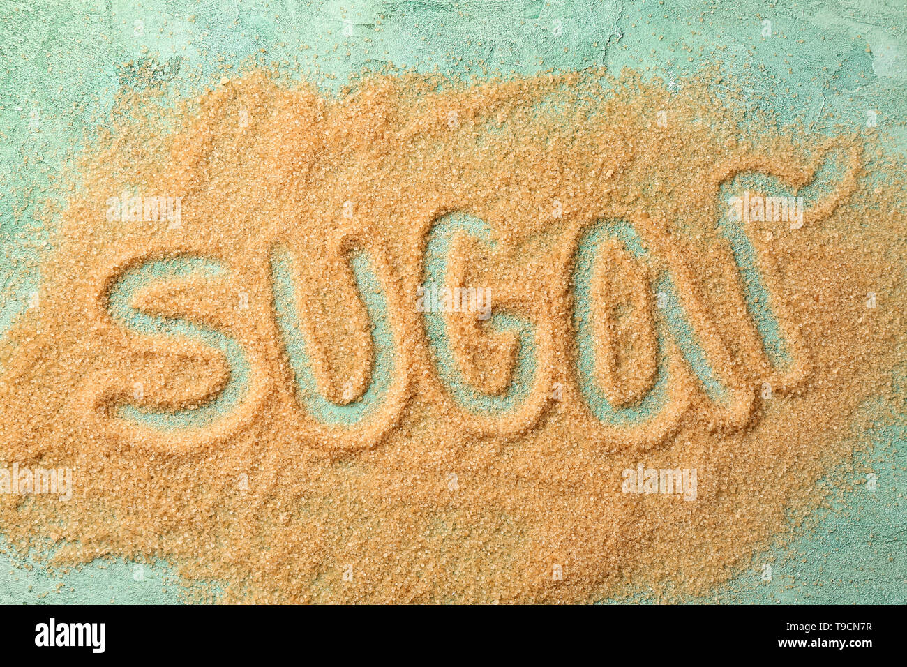 Composition with word Sugar on color background - Stock Image