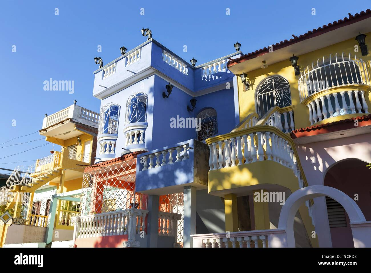 Colorful Residential Private House Buildings in Trinidad Cuba. Typically owned by wealthy Cubans and rented to Tourists Stock Photo