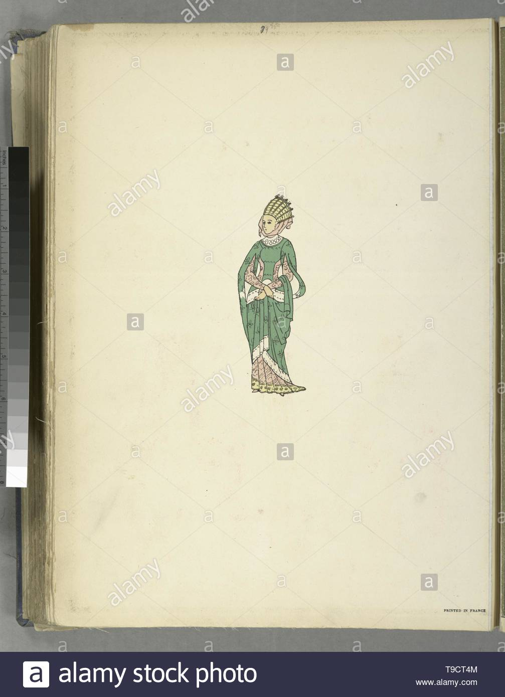 Giafferri,PaulLouisde,b 1886-Woman in green gown with headdress - Stock Image