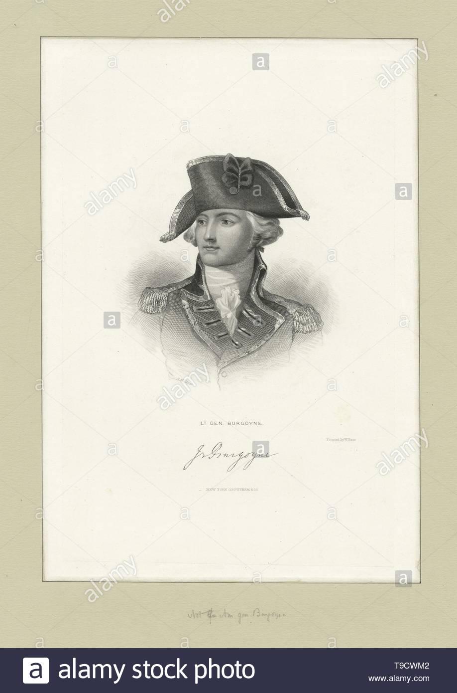 Hollyer,Samuel(1826-1919)-Lt  Gen  Burgoyne - Stock Image