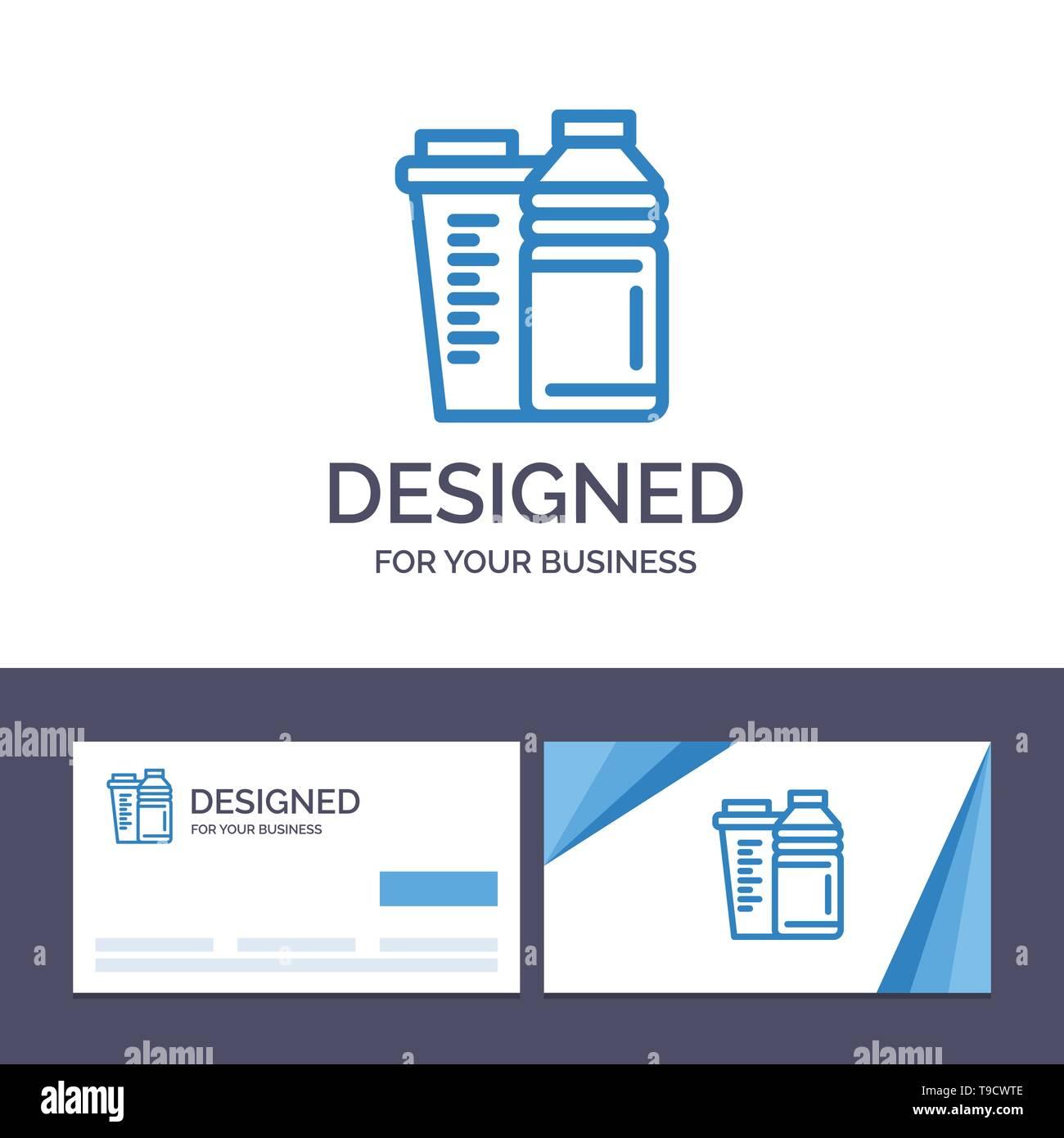 Creative Business Card and Logo template Bottle, Drink, Energy, Shaker, Sport Vector Illustration - Stock Image