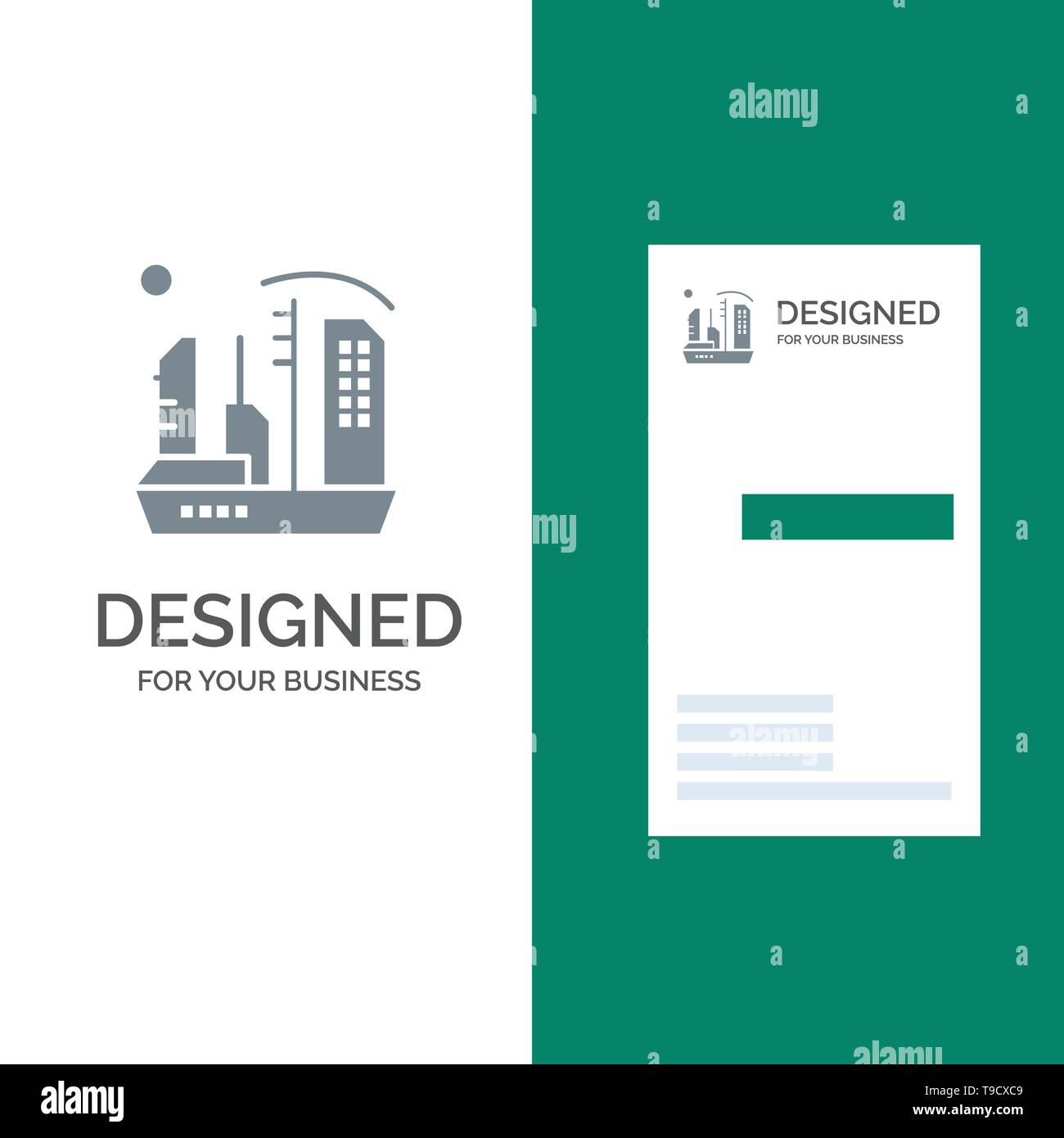 City, Colonization, Colony, Dome, Expansion Grey Logo Design and Business Card Template Stock Vector