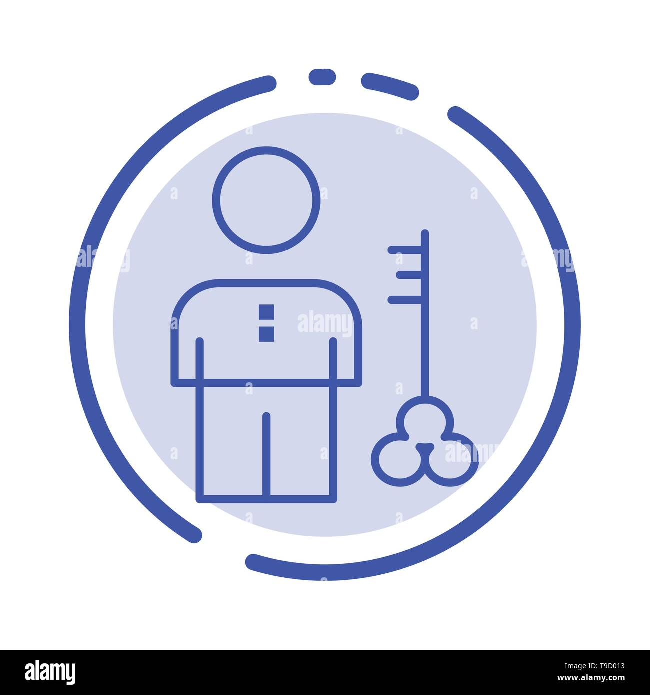 Solution, Key, Lock, Man, Person, Provider, Security Blue Dotted Line Line Icon Stock Vector