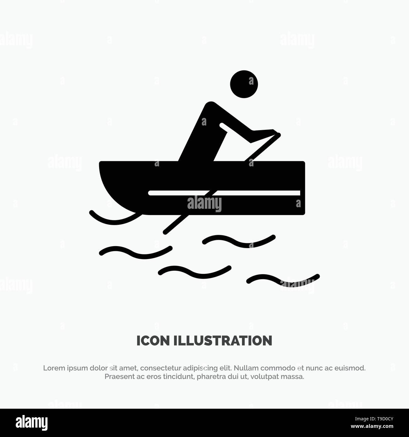 Boat, Rowing, Training, Water solid Glyph Icon vector Stock