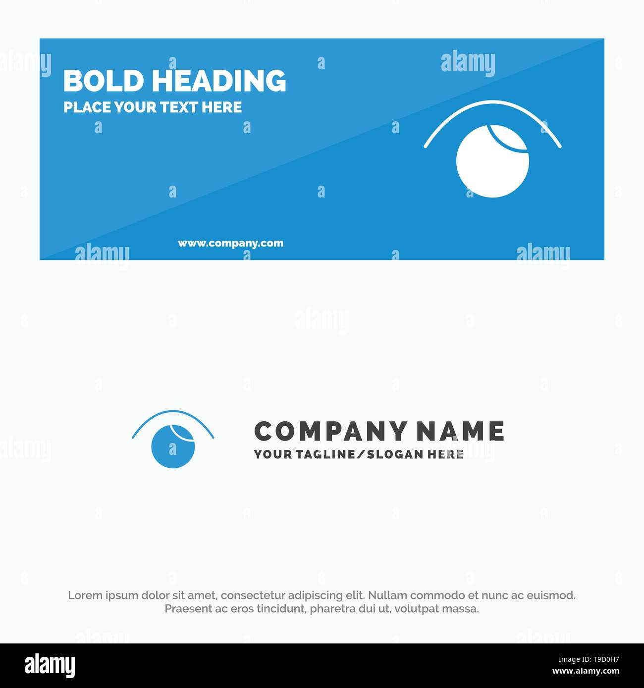 Eye, View, Watch, Twitter SOlid Icon Website Banner and Business Logo Template - Stock Image
