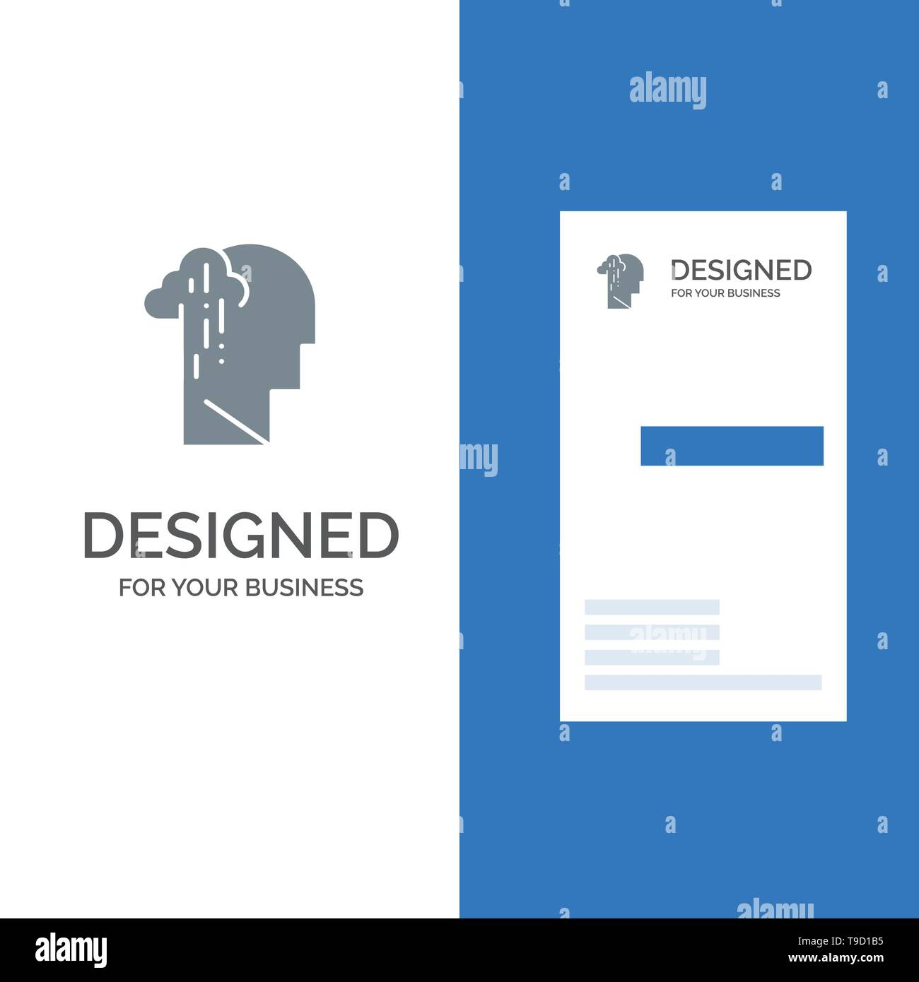 Depression, Grief, Human, Melancholy, Sad Grey Logo Design and Business Card Template - Stock Vector