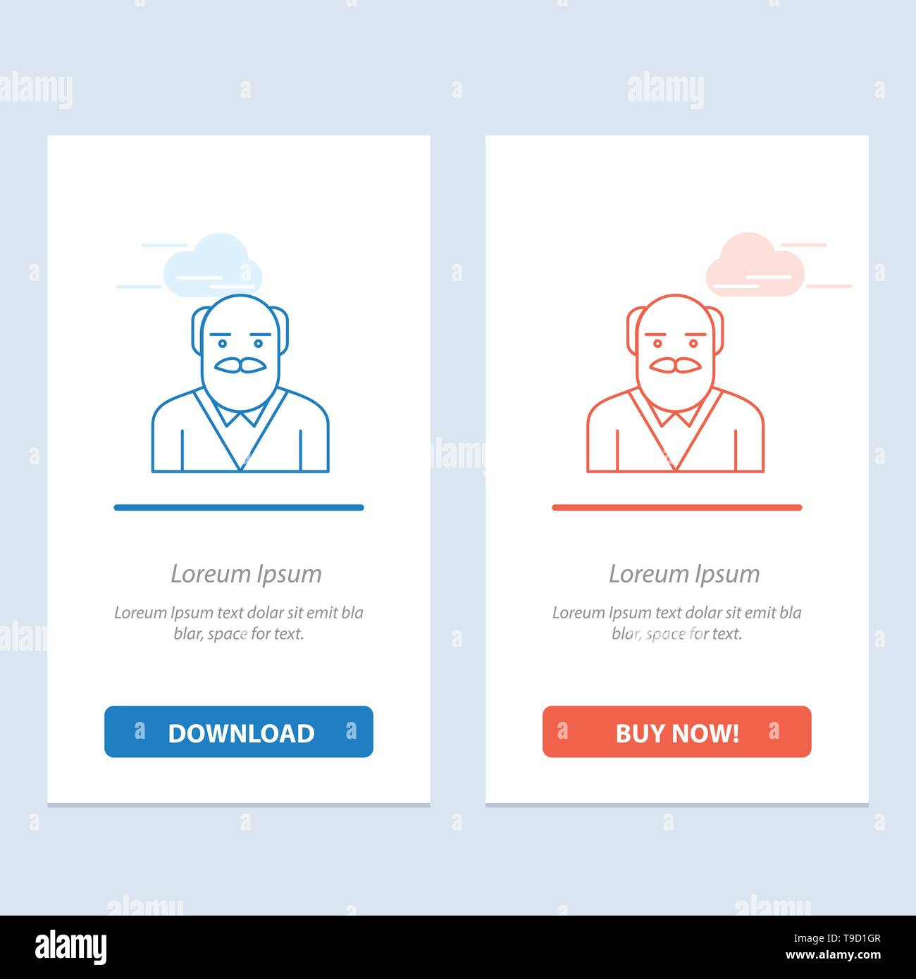 Grandpa, Father, Old Man, Uncle  Blue and Red Download and Buy Now web Widget Card Template - Stock Vector