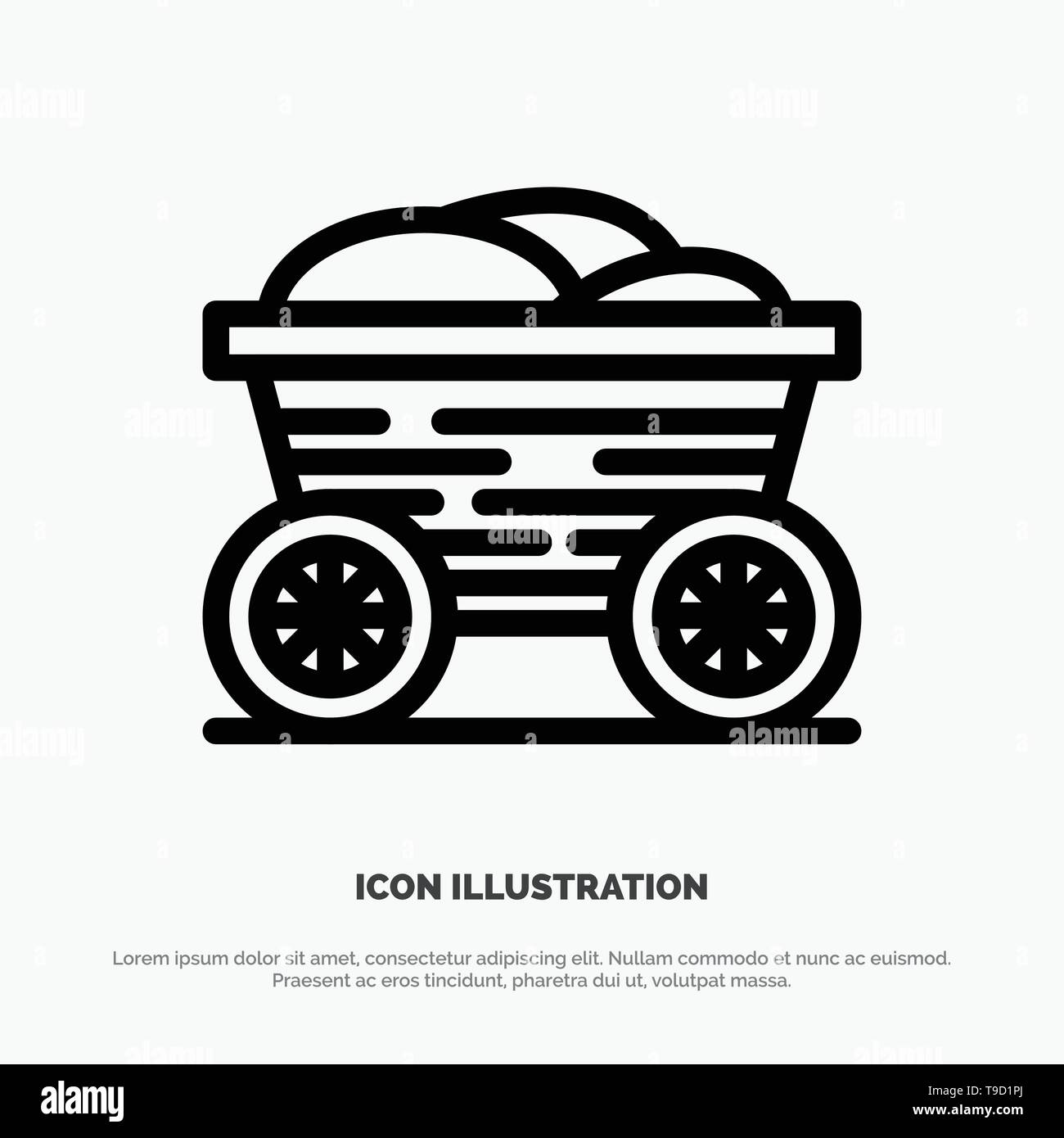 Trolley, Cart, Food, Bangladesh Line Icon Vector - Stock Vector