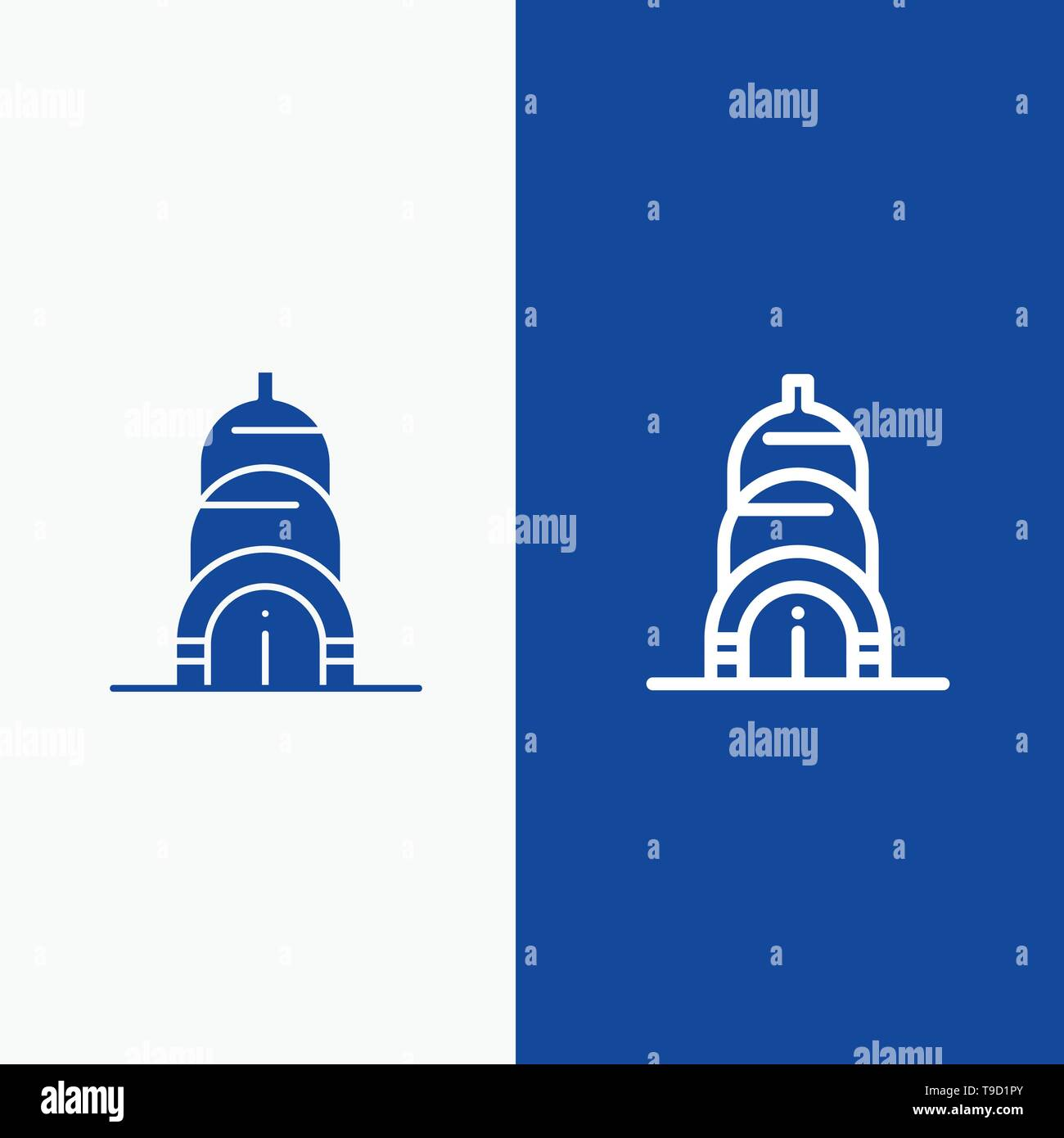 Chrysler, Building, Usa Line and Glyph Solid icon Blue banner Line and Glyph Solid icon Blue banner - Stock Image