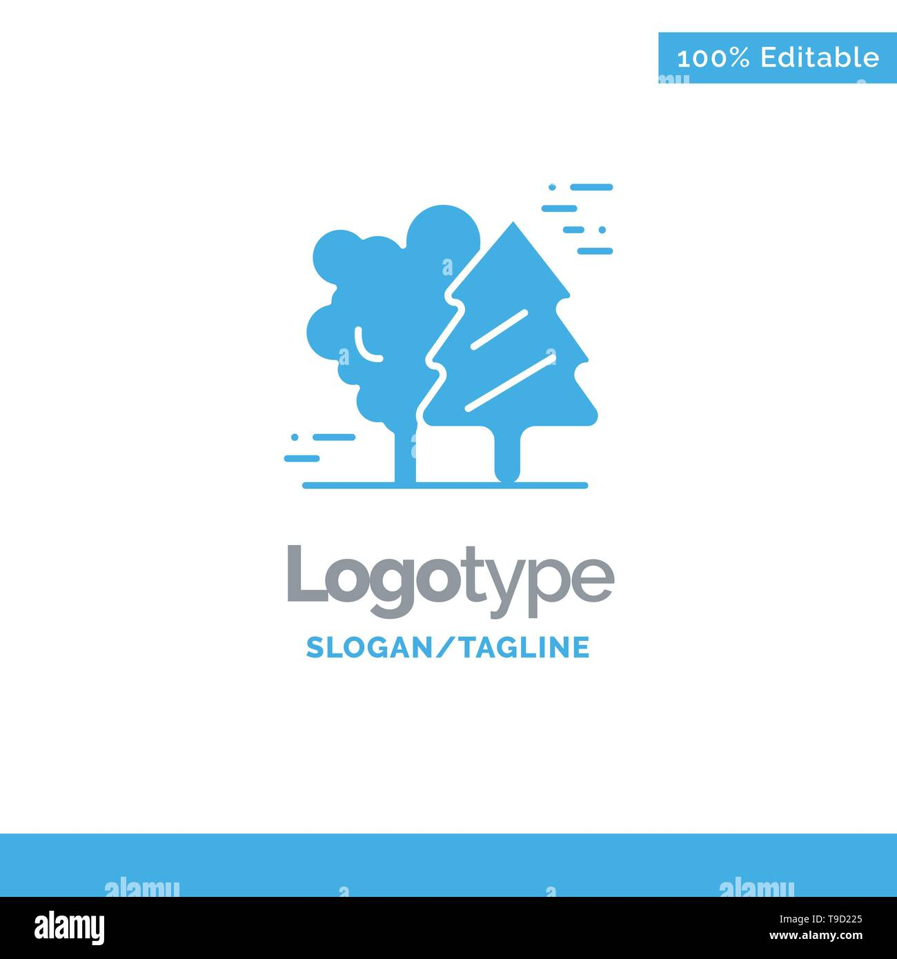 Alpine, Arctic, Canada, Pine Trees, Scandinavia Blue Solid Logo Template. Place for Tagline - Stock Image