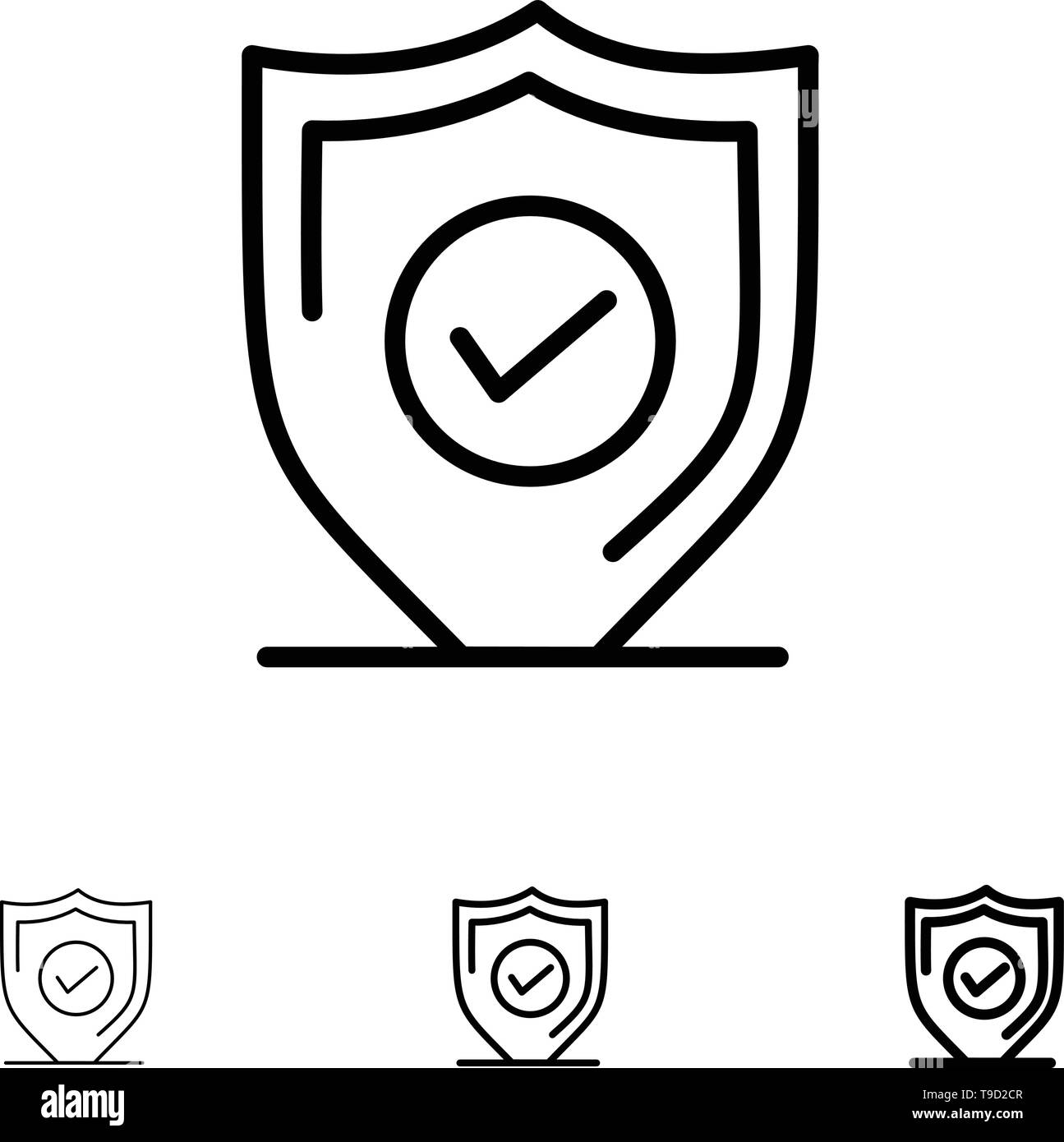 Confirm, Protection, Security, Secure Bold and thin black line icon set - Stock Image
