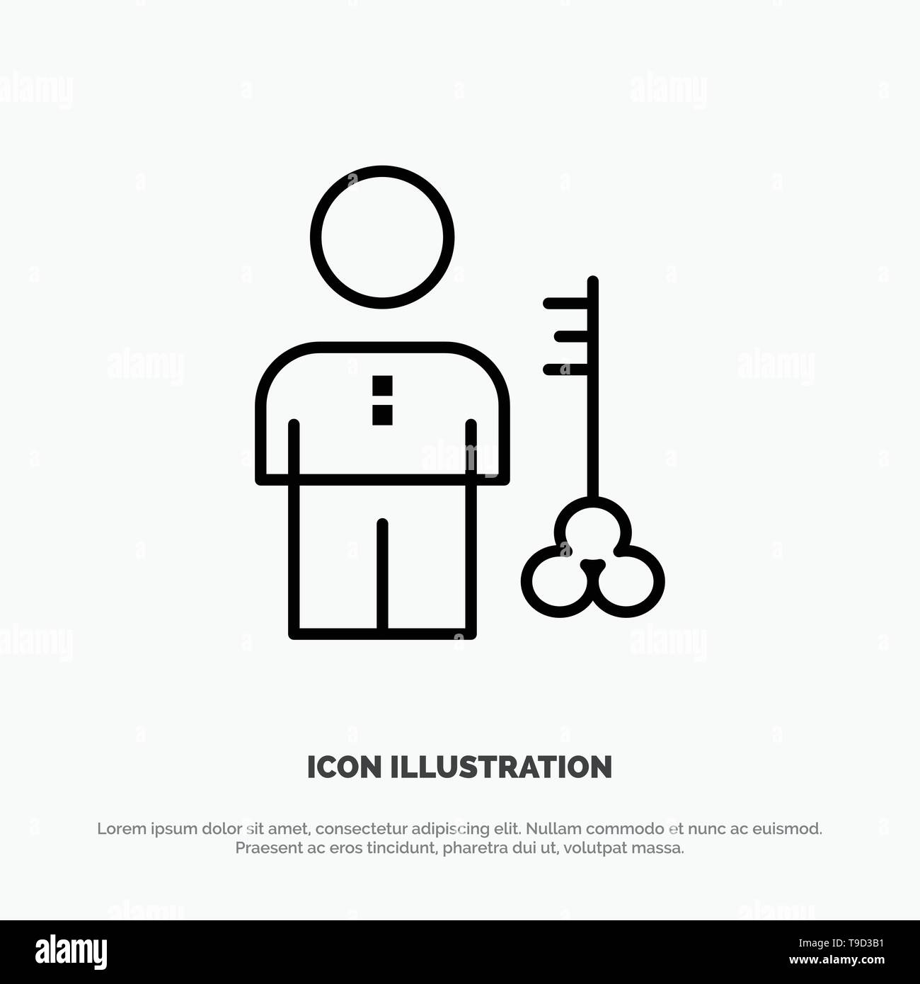 Solution, Key, Lock, Man, Person, Provider, Security Line Icon Vector - Stock Image